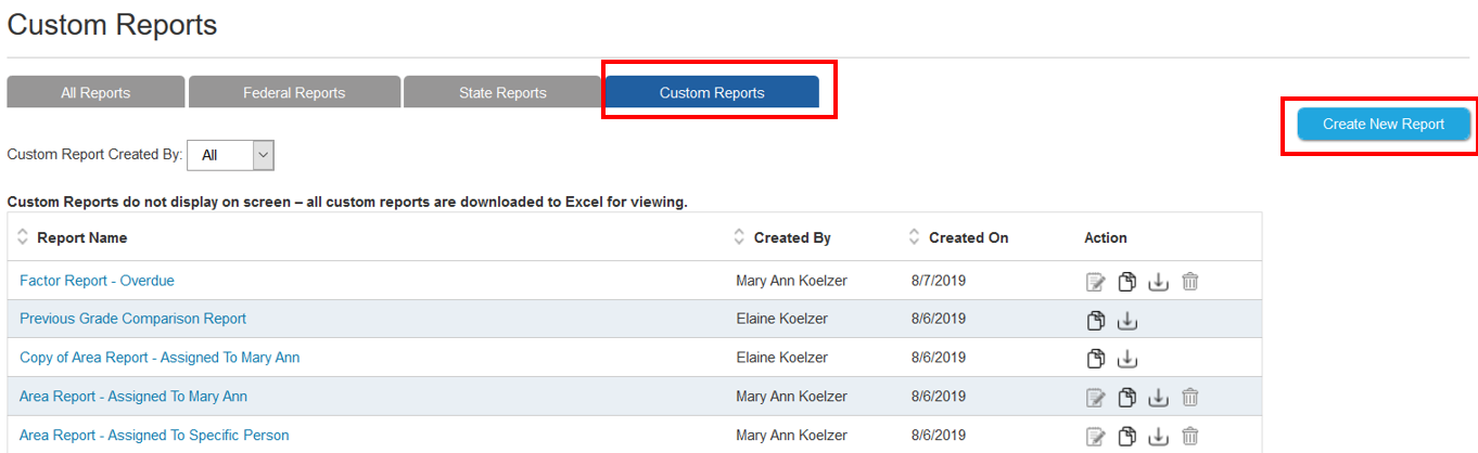 Custom Reports Screenshot